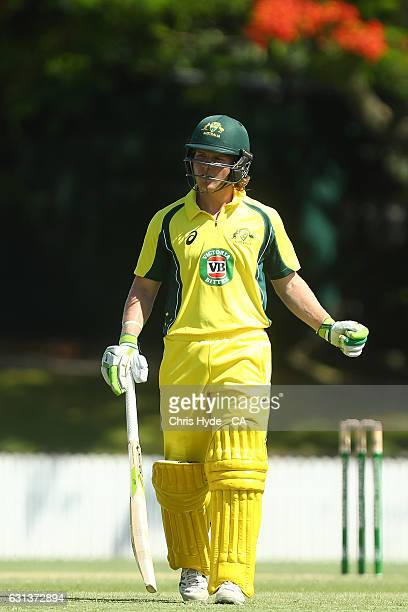 Will Pucovski of the CA XI leaves the field after being dismissed during the tour match between Pakistan and the CA XI at Allan Border Field on...