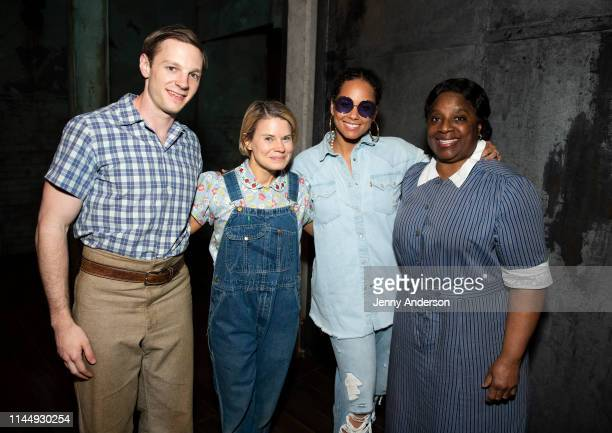 Will Pullen Celia KeenanBolger Alicia Keys and LaTanya Richardson Jackson pose backstage at To Kill a Mockingbird at the Shubert Theatre on April 24...