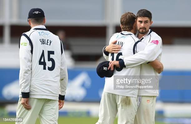 Will Rhodes hugs Sam Hain after Warwickshire won the Bob Willis Trophy Final between Warwickshire and Lancashire at Lord's Cricket Ground on October...