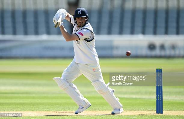 Will Rhodes of Warwickshire bats during the LV= Insurance County Championship match between Warwickshire and Essex at Edgbaston on April 23, 2021 in...