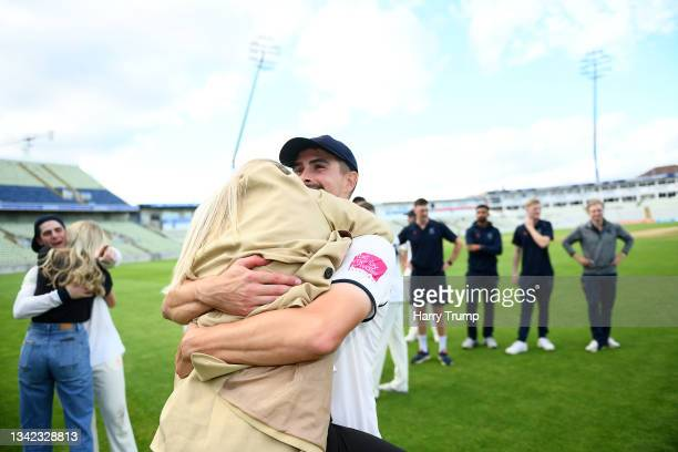 Will Rhodes of Warwickshire celebrates following Day Four of the LV= Insurance County Championship match between Warwickshire and Somerset at...