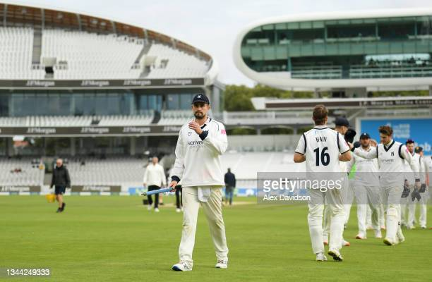 Will Rhodes of Warwickshire leads his side off during Day 4 of the Bob Willis Trophy Final between Warwickshire and Lancashire at Lord's Cricket...