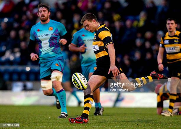 Will Robinson of Wasps clears his lines during the LV= Cup match between London Wasps and Exeter Chiefs at Adams Park on January 28 2012 in High...