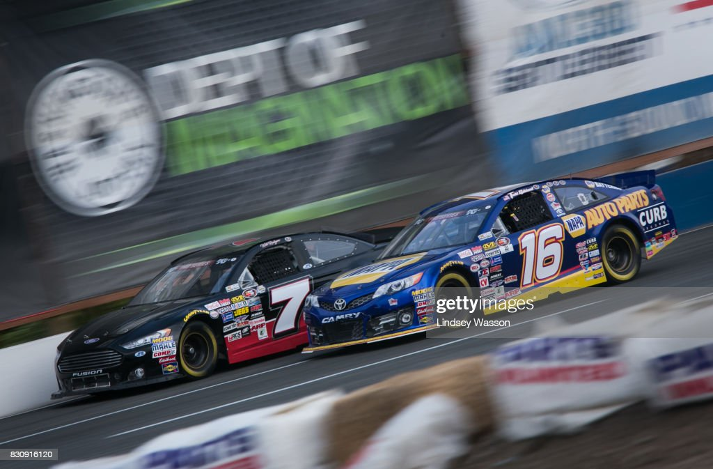 Will Rodgers #7 and Todd Gilliland #16 fight for position during the NASCAR K&N Pro Series West NAPA Auto Parts 150 on August 12, 2017 at Evergreen Speedway in Monroe, Washington.