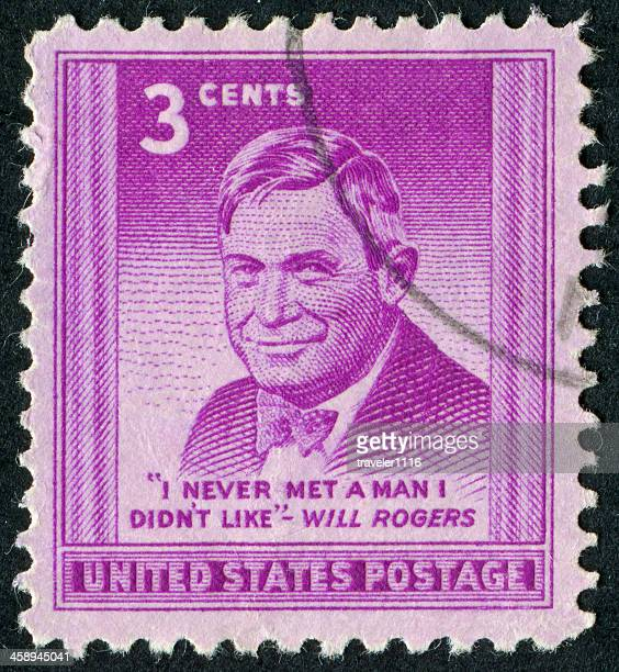 will rogers stamp - will rogers stock photos and pictures
