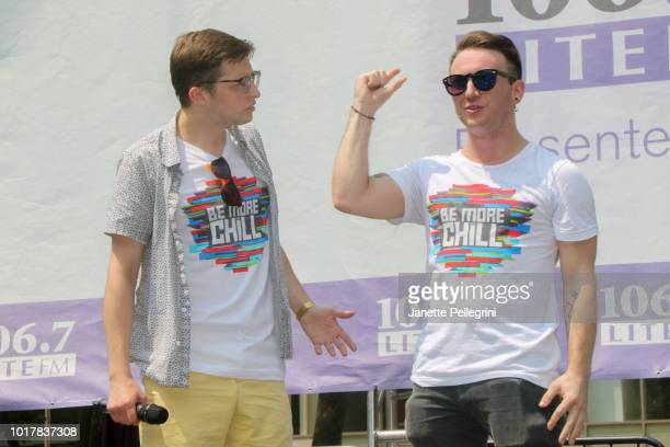 Will Roland and Gerard Canonico from the cast of 'Be More Chill' perform at 1067 LITE FM's Broadway in Bryant Park August 16 2018 in New York City