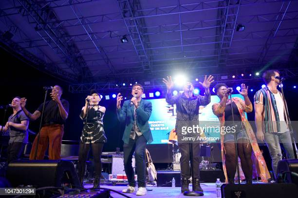 Will Roland George Salazar and the cast of Be More Chill perform onstage during the 4th Annual Elsie Fest Broadway's Outdoor Music Festival at...