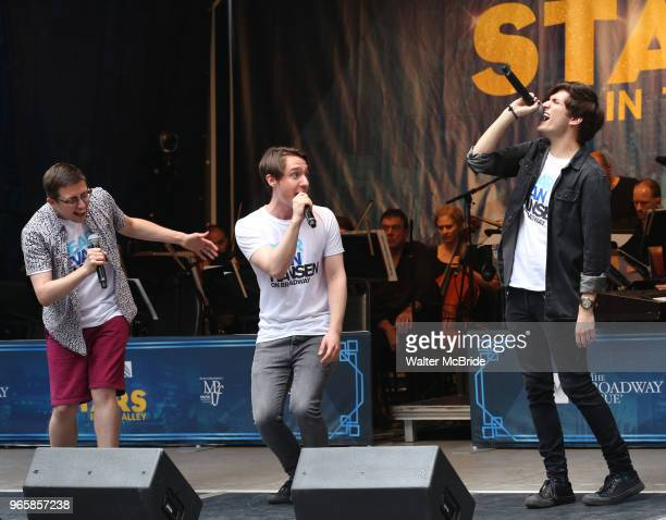 Will Roland Michael Lee Brown and Alex Boniello performing at the United Airlines Presents #StarsInTheAlley Produced By The Broadway League on June 1...
