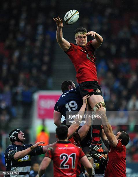 Will Rowlands of Jersey wins the line out ahead of James Phillips of Bristol during the Greene King IPA Championship match between Bristol and Jersey...