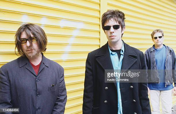 Will Sargeant Ian McCulloch and Les Pattinson of British band Echo And The Bunnymen at a photoshoot circa 1992
