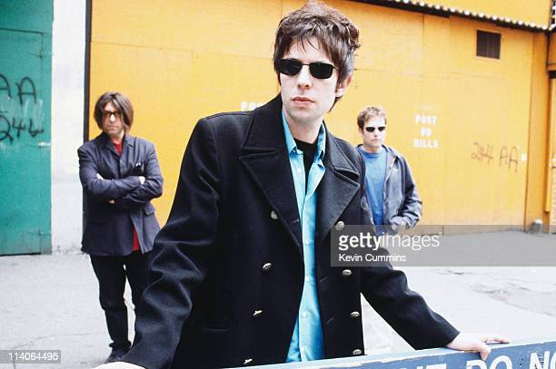 Will Sargeant IanMcCulloch and Les Pattinson of the British band Echo And The Bunnymen at a photoshoot circa 1992