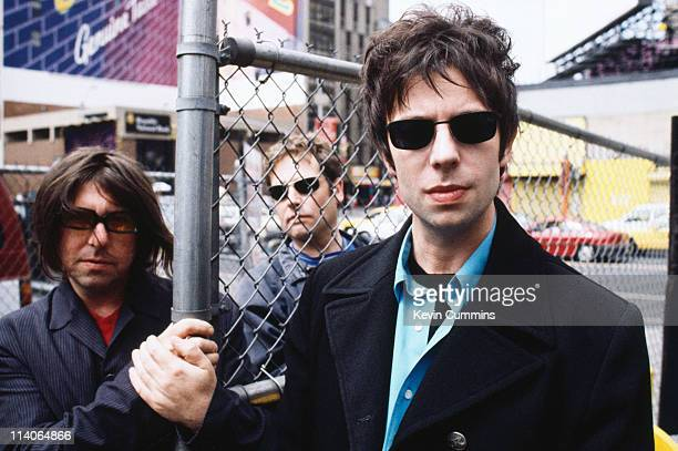 Will Sargeant Les Pattinson and Ian McCulloch of British band Echo And The Bunnymen at a photoshoot circa 1992
