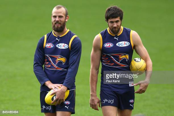 Will Schofield and Josh Kennedy look on during a West Coast Eagles AFL training session at Domain Stadium on September 11 2017 in Perth Australia