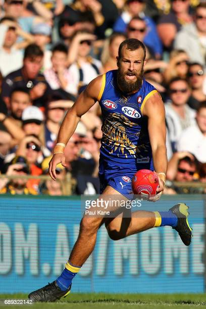 Will Schofield of the Eagles looks to pass the ball during the round 10 AFL match between the West Coast Eagles and the Greater Western Giants at...