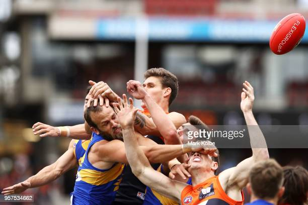 Will Schofield of the Eagles spoils in the pack during the round eight AFL match between the Greater Western Giants and the West Coast Eagles at...