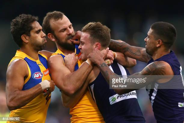Will Schofield of the Eagles wrestles with Hayden Crozier of the Dockers during the round 17 AFL match between the Fremantle Dockers and the West...
