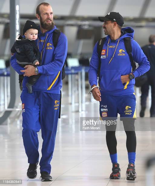 Will Schofield son Nash and Lewis Jetta of the West Coast Eagles Football Club is seen departing from Perth Airport for Sydney Australia on the 7th...