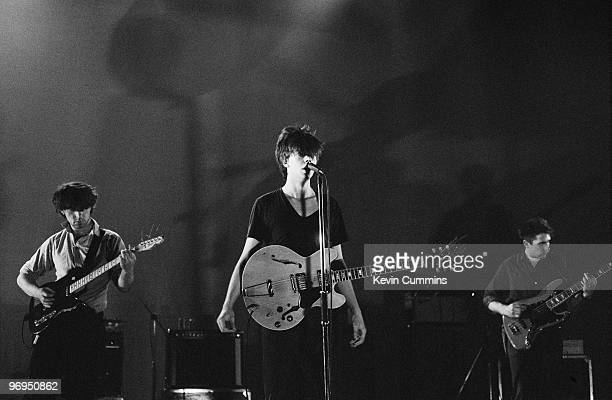 Will Sergeant Ian McCulloch and Les Pattinson of British band Echo and the Bunnymen perform on stage at the Apollo Theatre in Manchester England in...
