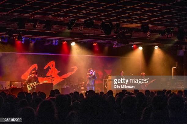 Will Sergeant; Nicholas Kilroe; Ian McCulloch; Stephen Brannan and Kelley Stoltz of Echo & The Bunnymen perform onstage headling day 2 of Rockaway...
