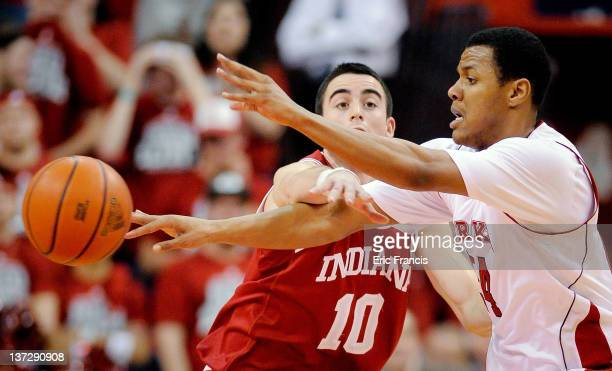Will Sheehey of the Indiana Hoosiers attempts to block a pass from Dylan Talley of the Nebraska Cornhuskers during their game at The Devany Center...