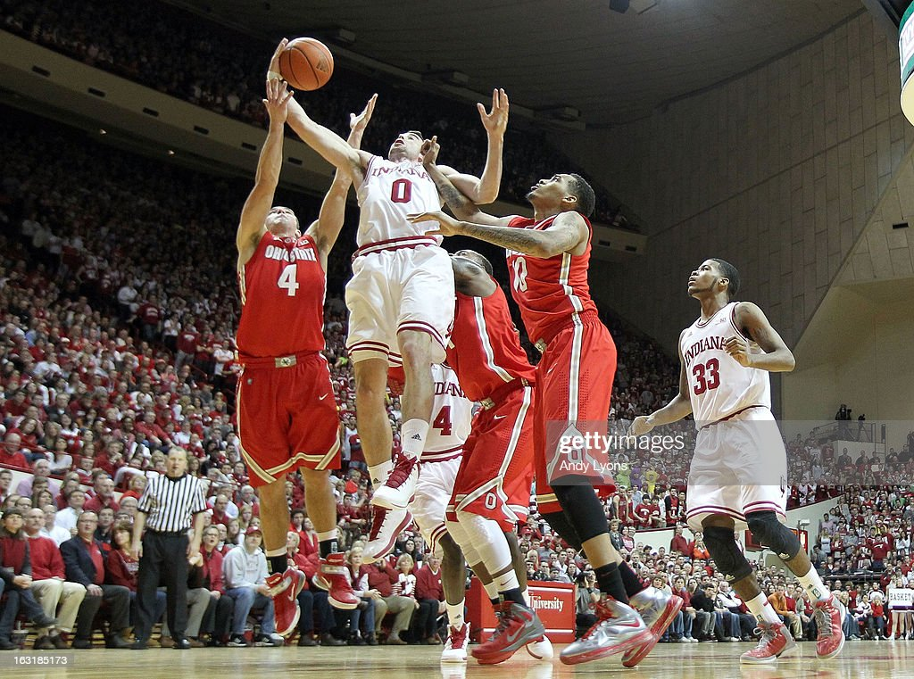 Will Sheehey #0 of the Indiana Hoosiers grabs a rebound during the game against the Ohio State Buckeyes at Assembly Hall on March 5, 2013 in Bloomington, Indiana.