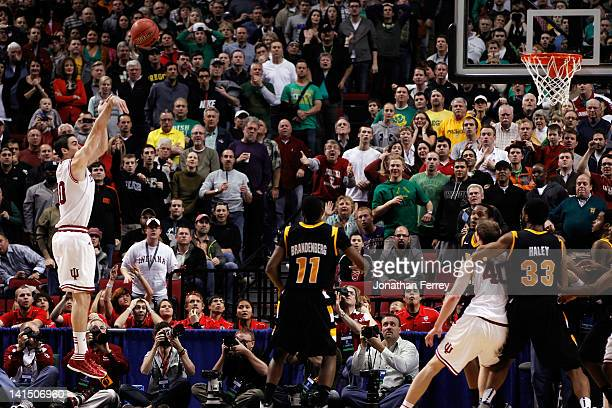 Will Sheehey of the Indiana Hoosiers makes the game-winning basket with 12.8 seconds against the Virginia Commonwealth Rams during the third round of...