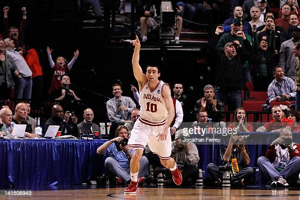 Will Sheehey of the Indiana Hoosiers reacts after hitting the game-winning basket with 12.8 seconds against the Virginia Commonwealth Rams during the...