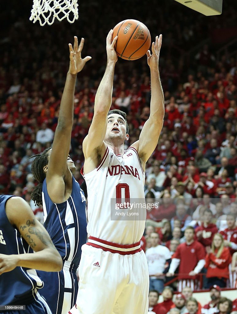Will Sheehey #0 of the Indiana Hoosiers shoots the ball during the game against the Penn State Nittany Lions at Assembly Hall on January 23, 2013 in Bloomington, Indiana.