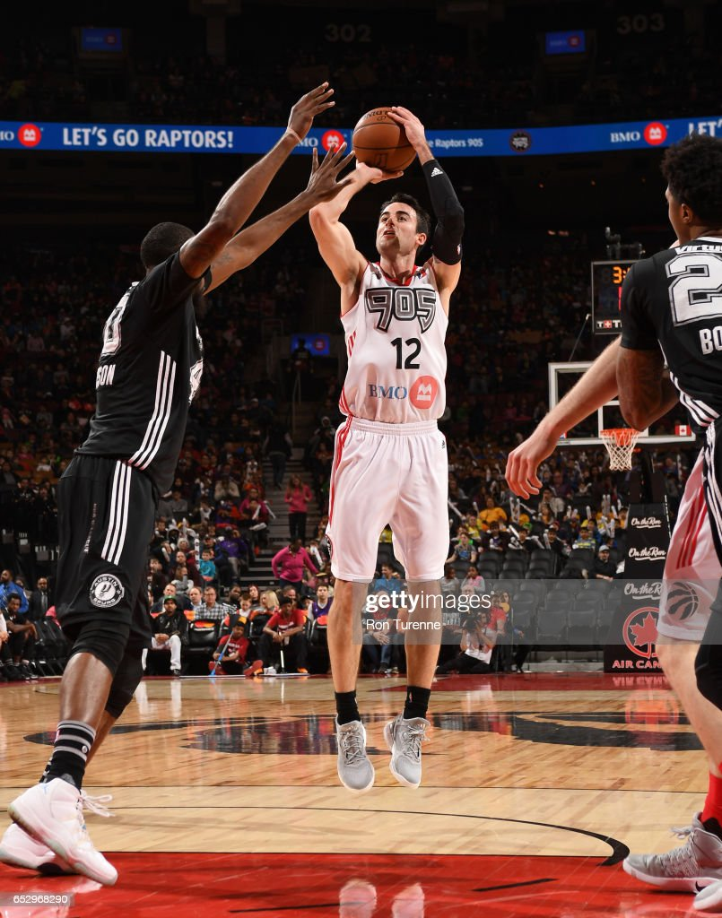 Will Sheehey #12 of the Raptors 905 goes up for the jumper during the game against the Austin Spurs at the Air Canada Centre on March 13, 2017 in Toronto, Ontario, Canada.