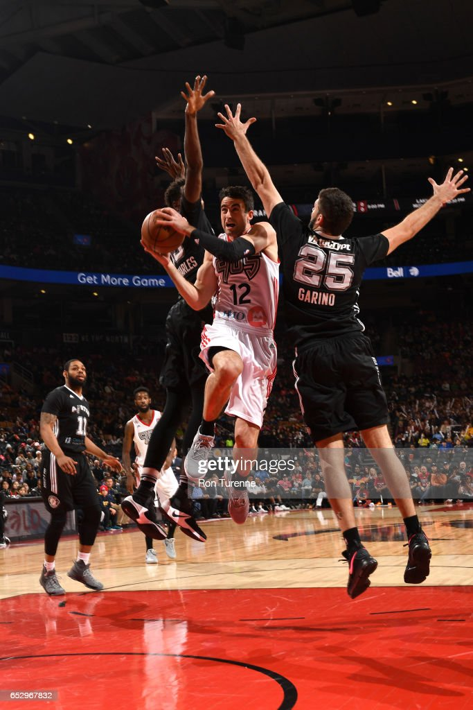 Will Sheehey #12 of the Raptors 905 goes up for the shot against Patricio Garino #25 of the Austin Spurs at the Air Canada Centre on March 13, 2017 in Toronto, Ontario, Canada.