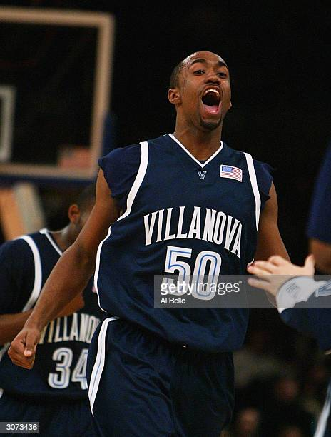 Will Sheridan of the Villanova Wildcats celebrates a point against the Seton Hall Pirates during their first round game of the Big East Championship...