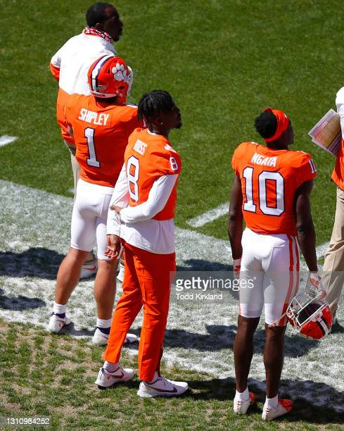 Will Shipley, Justyn Ross and Joseph Ngata of the Clemson Tigers watch on during the second half of the Clemson Orange and White Spring Game at...