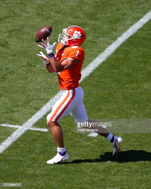 Will Shipley of the Clemson Tigers receives the ball during the second half of the Clemson Orange and White Spring Game at Memorial Stadium on April...
