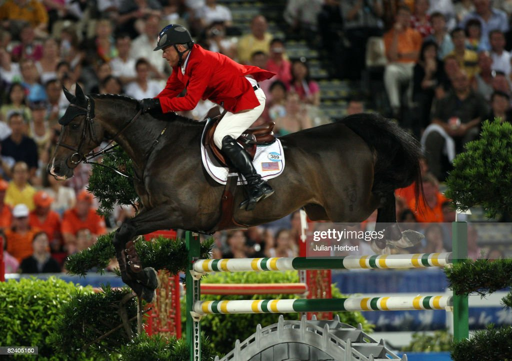 Will Simpson of the United States and Carlsson Vom Dach in action during the Team Jumping Competition held at the Hong Kong Olympic Equestrian Venue in Sha Tin during day 10 of the Beijing 2008 Olympic Games on August 18, 2008 in Hong Kong, China.