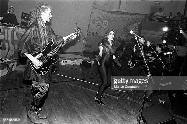 Will Sinnott and Plavka Lonich of The Shamen perform on stage in Aberdeen, Scotland, United Kingdom, 1990.