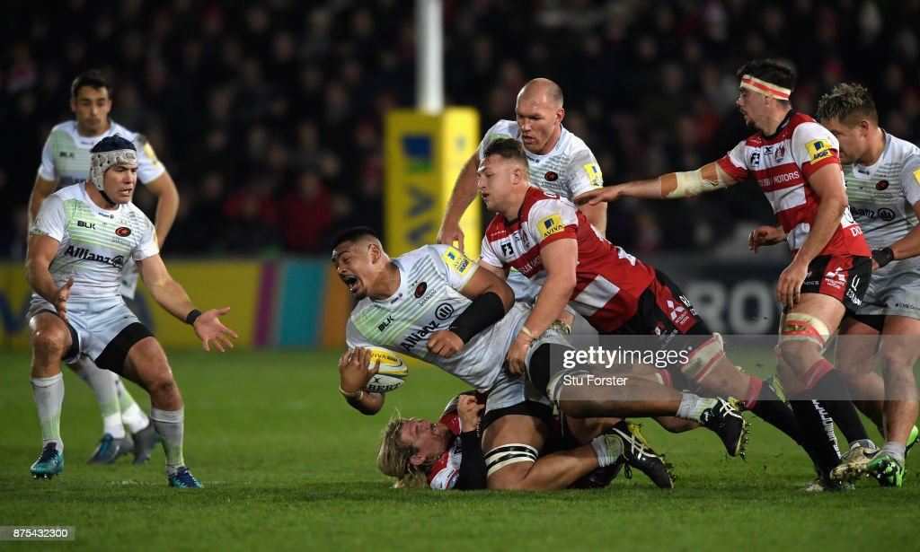 Will Skelton of Saracens on the charge during the Aviva Premiership match between Gloucester Rugby and Saracens at Kingsholm Stadium on November 17, 2017 in Gloucester, England.