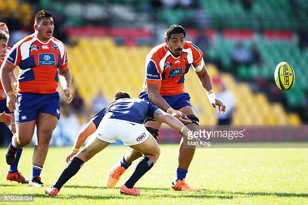 Will Skelton of the Rams offloads the ball during the round five NRC match between the Western Sydney Rams and Queensland Country at Concord Oval on...