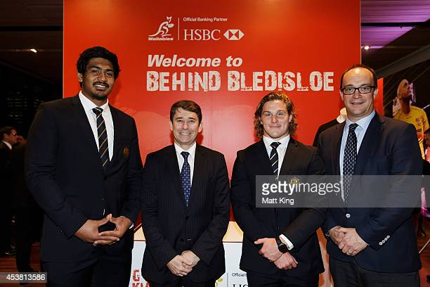 Will Skelton of the Wallabies CEO of HSBC Australia Tony Cripps Michael Hooper of the Wallabies and HSBC Global Head of Sponsorship and Events Giles...