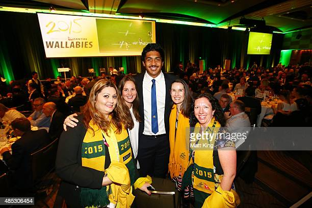 Will Skelton of the Wallabies poses wih fans during the Australia Rugby World Cup farewell lunch and fan day at The Westin Hotel on August 27 2015 in...