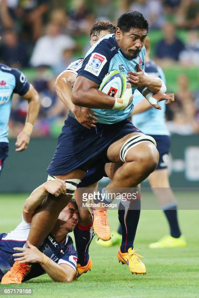 Will Skelton of the Waratahs tries to break his way through during the round five Super Rugby match between the Rebels and the Waratahs at AAMI Park...