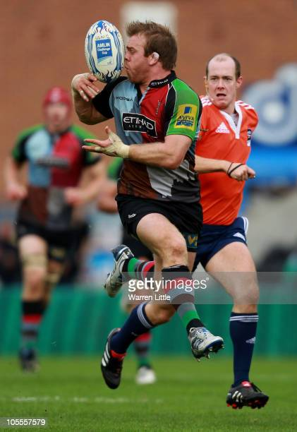 Will Skinner of Harlequins catches the ball against his face during the Amiln Challenge Cup match between Harlequins and Cavalieri Prato at The Stoop...
