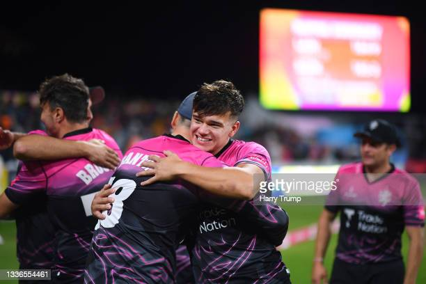 Will Smeed and Tom Banton of Somerset celebrate following the Vitality T20 Blast Quarter Final match between Somerset CCC and Lancashire Lightning at...