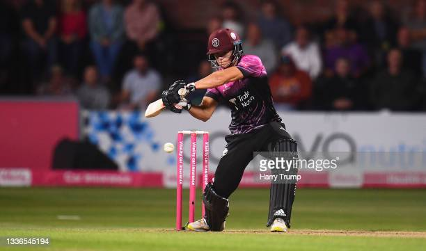 Will Smeed of Somerset plays a shot during the Vitality T20 Blast Quarter Final match between Somerset CCC and Lancashire Lightning at The Cooper...