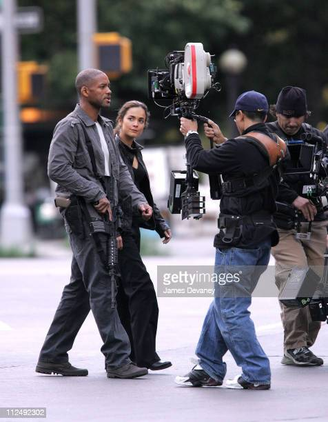 Will Smith and Alice Braga during Will Smith and Alice Braga on Set of I am Legend October 15 2006 at Columbus Circle in New York City New York...