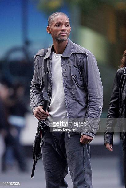 Will Smith and Alice Braga during Will Smith and Alice Braga on Set of 'I am Legend' October 15 2006 at Columbus Circle in New York City New York...
