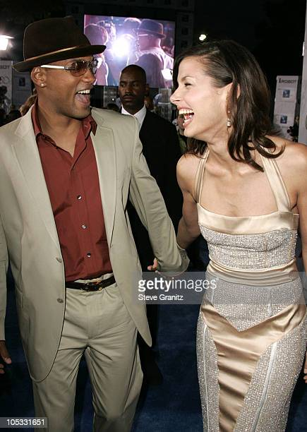 Will Smith and Bridget Moynahan during Access Hollywood Stage at the World Premiere of I ROBOT at Mann Village Theater in Westwood California United...
