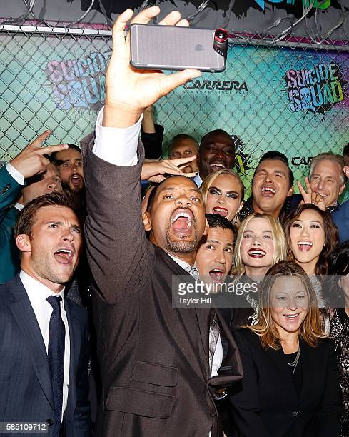 Will Smith and cast members including Scott Eastwood, Jared Leto, Cara Delevingne, Karen Fukuhara, and others, take a selfie during the world...