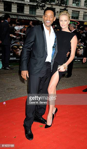 Will Smith and Charlize Theron arrive at the UK film premiere of 'Hancock' at Vue Cinema Leicester Square on June 18 2008 in London England