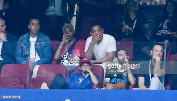 Will Smith and his son Jaden Smith attend the 2018 FIFA World Cup Russia Final match between France and Croatia at Luzhniki Stadium on July 15 2018...