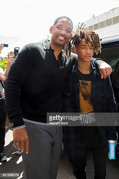 Will Smith and his son Jaden Smith pose outside the Palais after The Pursuit of Impact seminar during the Cannes Lions Festival 2016 on June 21 2016...